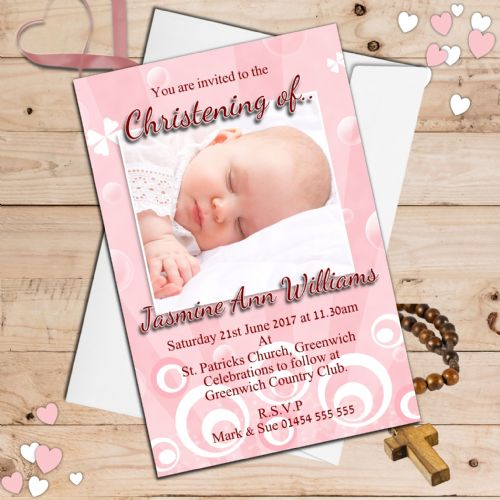 10 Personalised Christening Baptism Photo Invitations N39